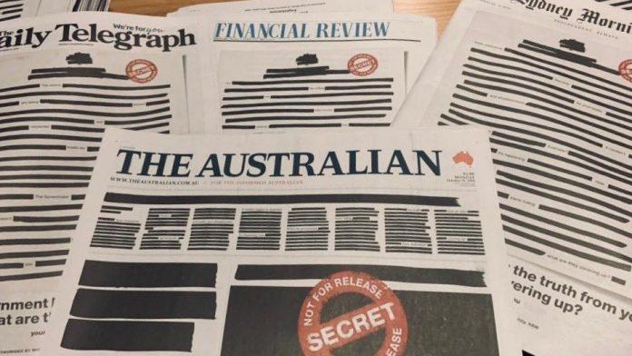 """Presa australiană s-a """"autocenzurat"""" pentru a protesta împotriva atacurilor Guvernului"""