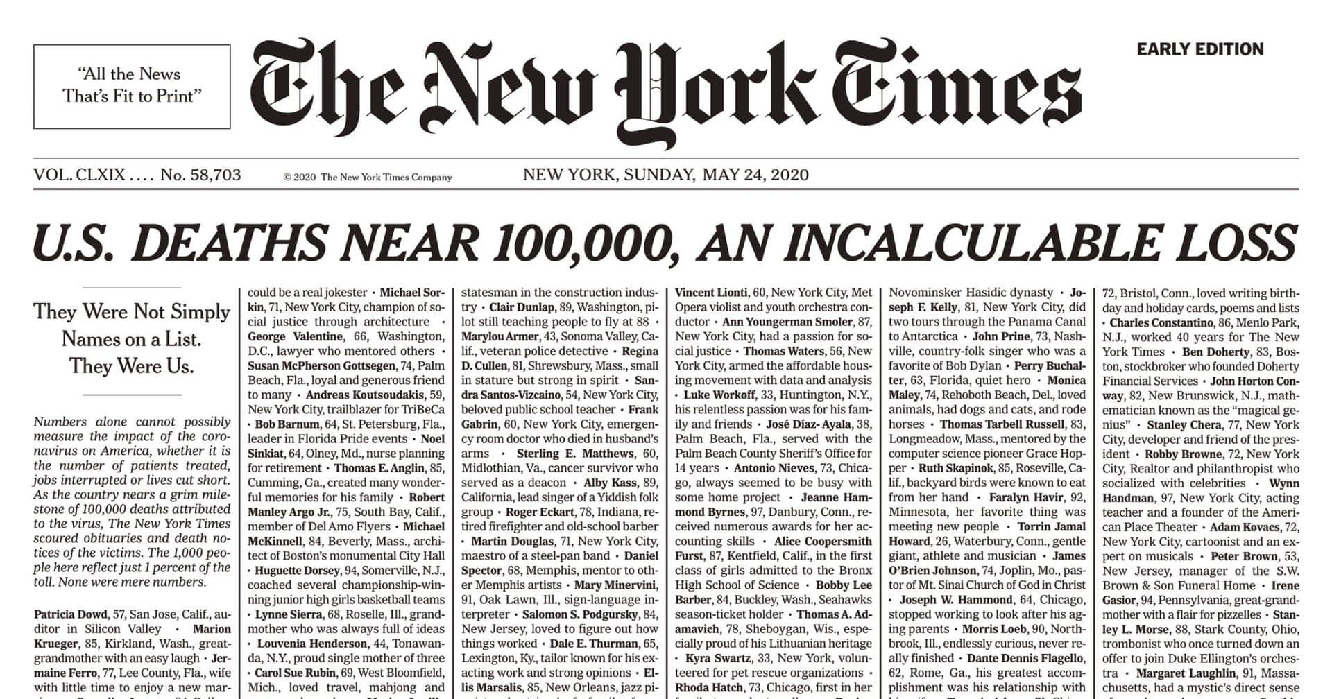 Ediție istorică a New York Times. Ziarul american a publicat o mie de necrologuri ale decedaților de COVID-19
